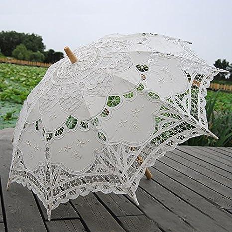 ff5994234 Image Unavailable. Image not available for. Color: Saitec® New Fashion Hot  Sale Handmade Cotton Embroidery Beige Battenburg Lace Parasol Umbrella  Wedding ...
