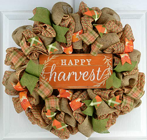 Happy Harvest Fall Wreath | Thanksgiving Deco Mesh Front Door Wreath; Brown Orange Green Burlap