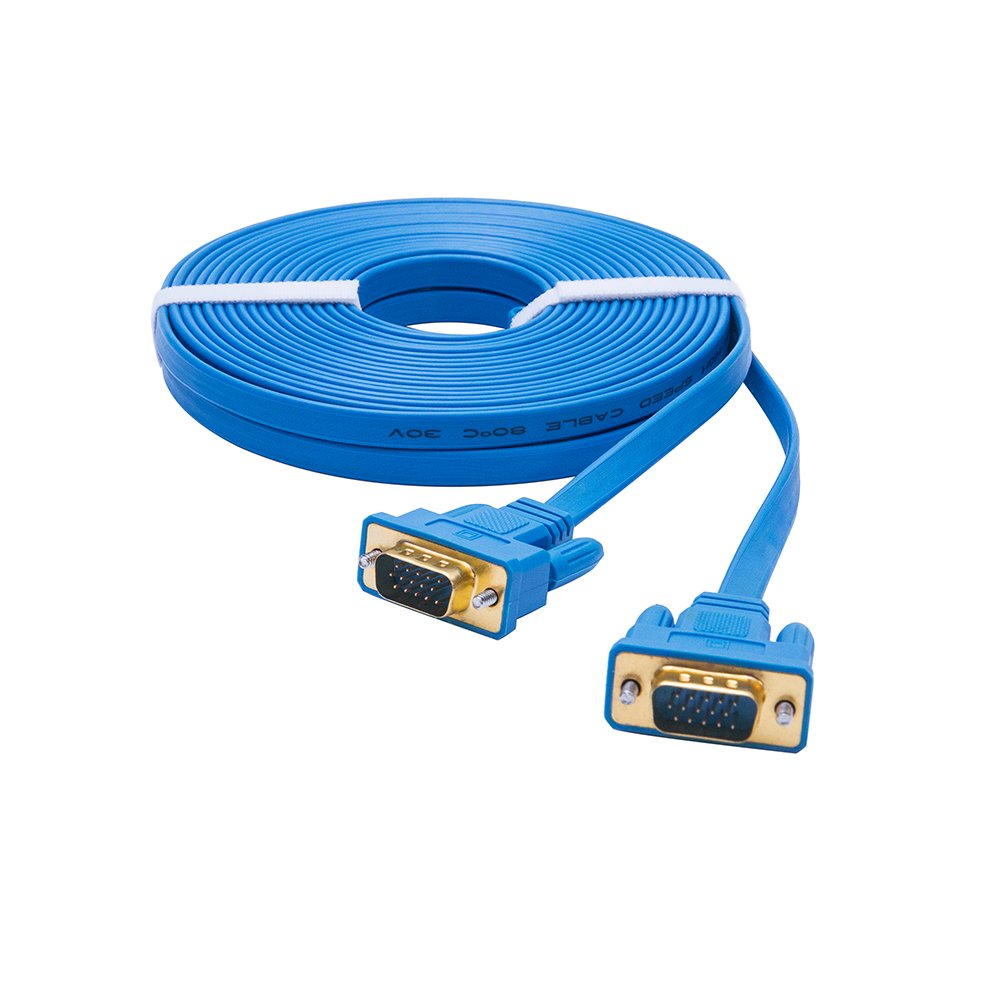 DTECH Ultra Slim Flat Computer Monitor VGA Cable 25 Feet in Blue 8m by DTech