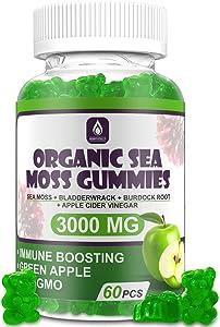Organic Sea Moss Gummies - Jamaican Sea Moss, Bladderwrack, Burdock Root, and Apple Cider Vinegar - 60 Gummies - Vegan - Candy Supplement for Immune Boosting, Joint Support, Skin, and Energy