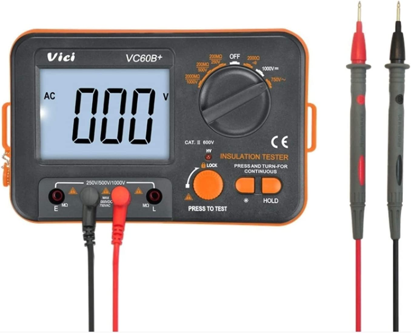 YISUNF Precise instrument Digital insulation resistance tester VC60B insulation testing machine mega oh meter 250 V 500 V 1000 V high voltage and short circuit input alarm Resistance Tester