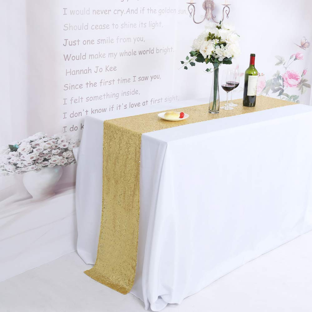 TRLYC 10 Pieces 12 by 120 Inches Gold Sequin Table Runners Wedding Banquet Party Decoration by TRLYC
