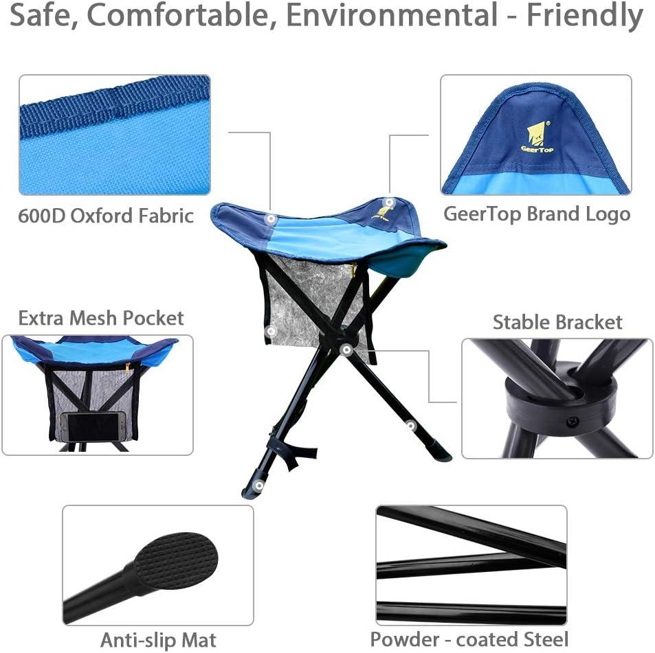 Campeggio con Pratica Tracolla Pesca e Feste Sedia da Campeggio Pieghevole Mare Ideale per Vacanze com-four/® Sgabello Pieghevole con treppiede Blu