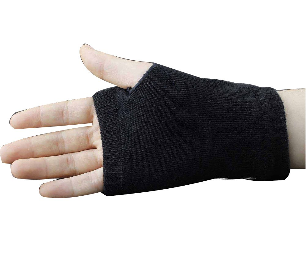 Women's Cotton Metal Rivet Punk Studs Motorcycle Fingerless Half Finger Gloves by crystalonly (Image #3)