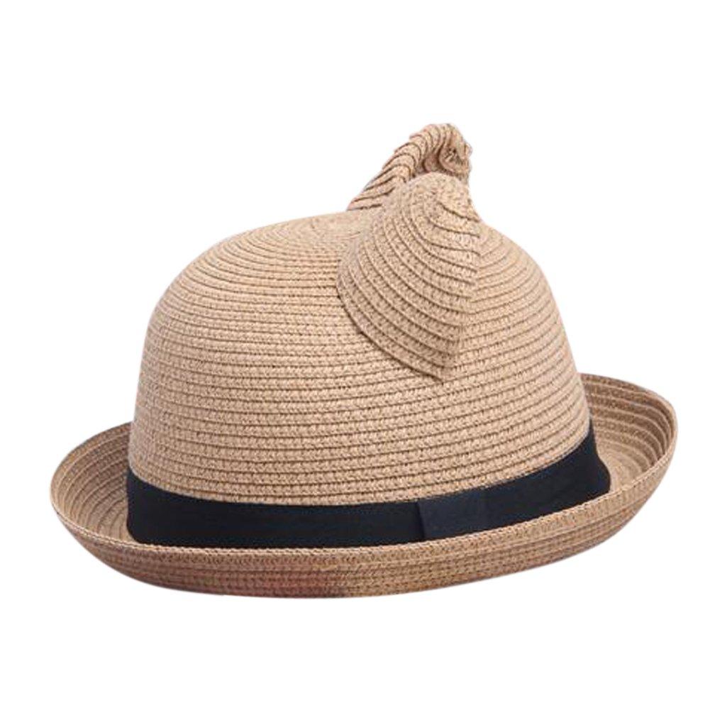 8118ff3b4b9 Women s Cute Cat Ear Bowler Straw Sun Summer Beach Roll-up Curly Brim Hat  Cap at Amazon Women s Clothing store