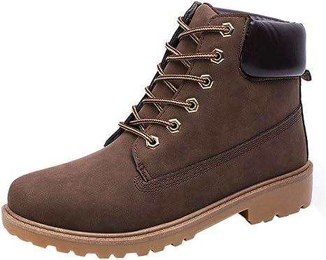 TALLA EU39--CN39. WWricotta LuckyGirls Zapatillas Casual Hombres Botas Pieles Forradas de Caña Alta Moda Cómodas Calzado Andar Zapatos Planos Bambas con Cordones Botas