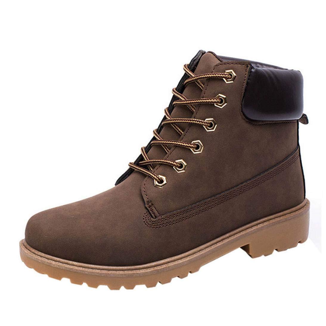 WWricotta LuckyGirls Zapatillas Casual Hombres Botas Pieles Forradas de Caña Alta Moda Cómodas Calzado Andar Zapatos Planos Bambas con Cordones Botas