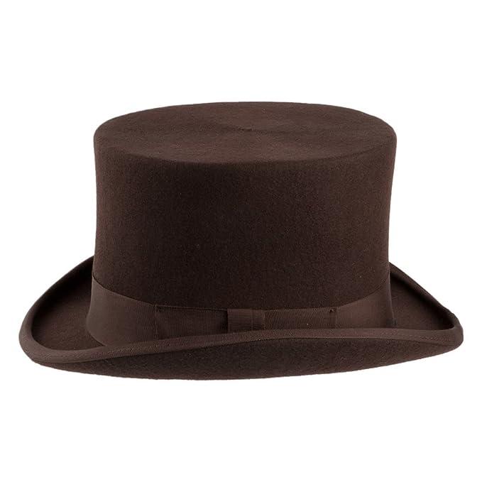 db5dd5a3603 Village Hats Denton Hats Wool Felt Top Hat - Brown: Amazon.co.uk: Clothing