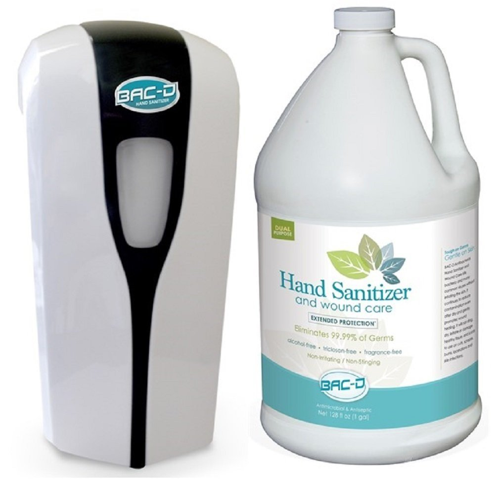 BAC-D 633 Wall Mount Touch Free Adjustable Dose Dispenser & Refill, Hand Sanitizer Dispenser Kit with 1 BAC-D Hand Sanitizer One Gallon Refill (Pack of 2)