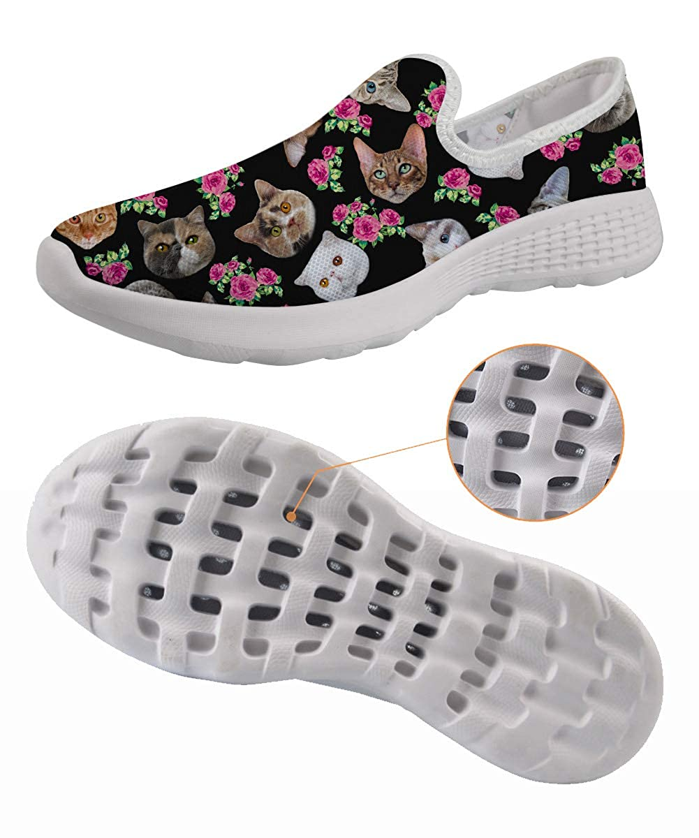 Black Cut Cat Floral Mesh Slip On Floral Print Beach Camping Hiking Water Shoes