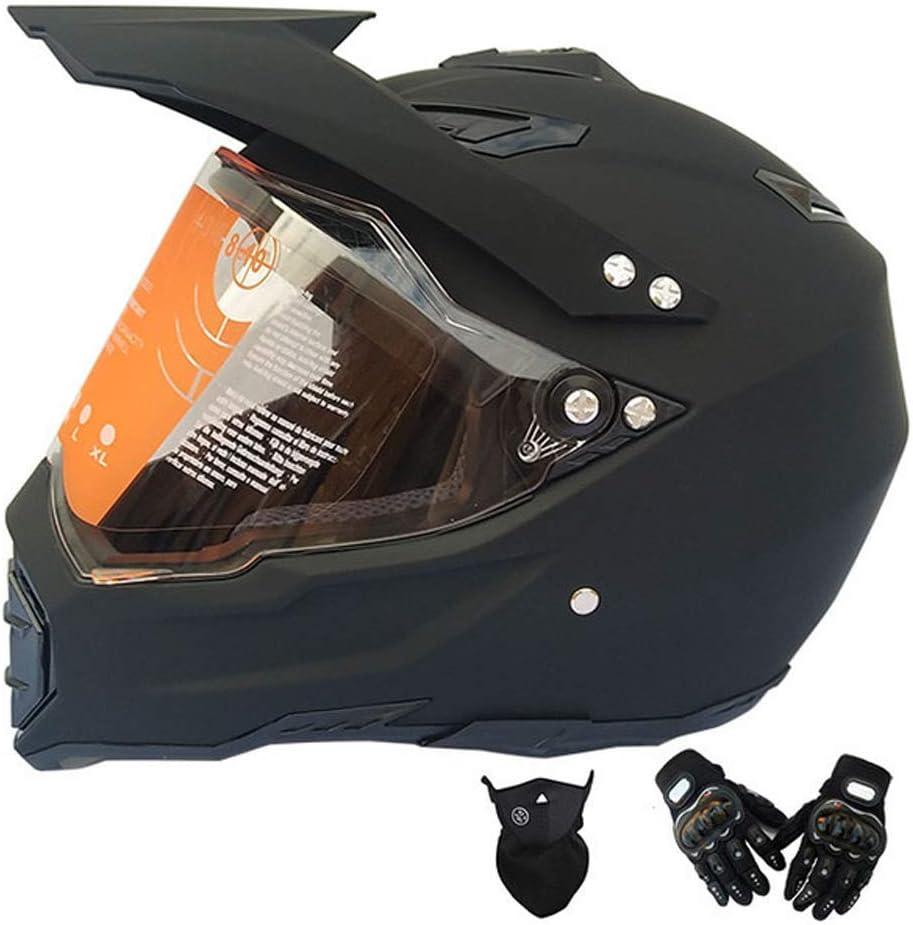 大人用フルフェイスモトクロスヘルメットマットブラックバイククロスヘルメットバイザーグローブマスク、マウンテンバイク用ヘルメットオフロードヘルメットセットバイク用クラッシュヘルメット防護服,S S