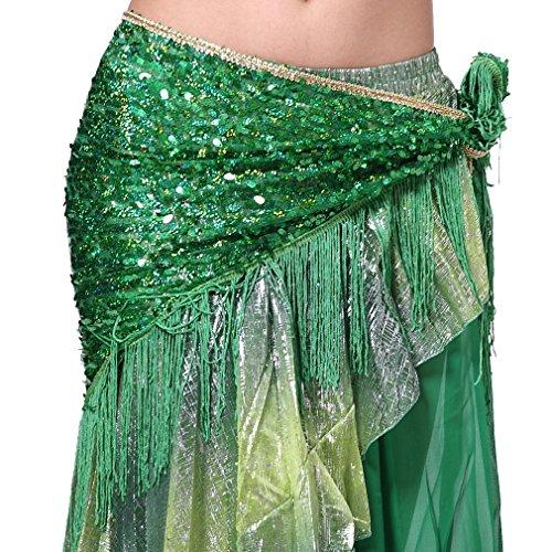 ZLTdream Women's Belly Dance Hip Scarf with Tassel Green
