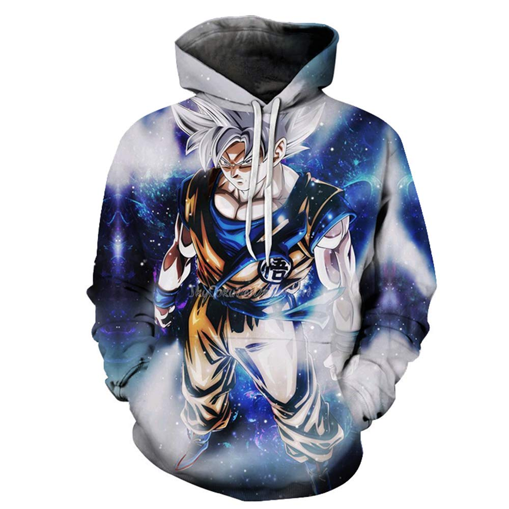 Lu&lu Cartoon Boys Girls Dragon Ball Z Goku 3D Print Hooded Sweatshirt Pullover Pocket Fleece Blouse Top (S-6XL)