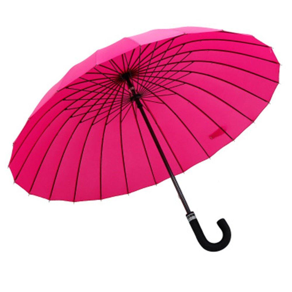 Guoke 24 Bones Long Handle Umbrella Double Extra Large Curved Handle, A Fine Rain Umbrella, The Red