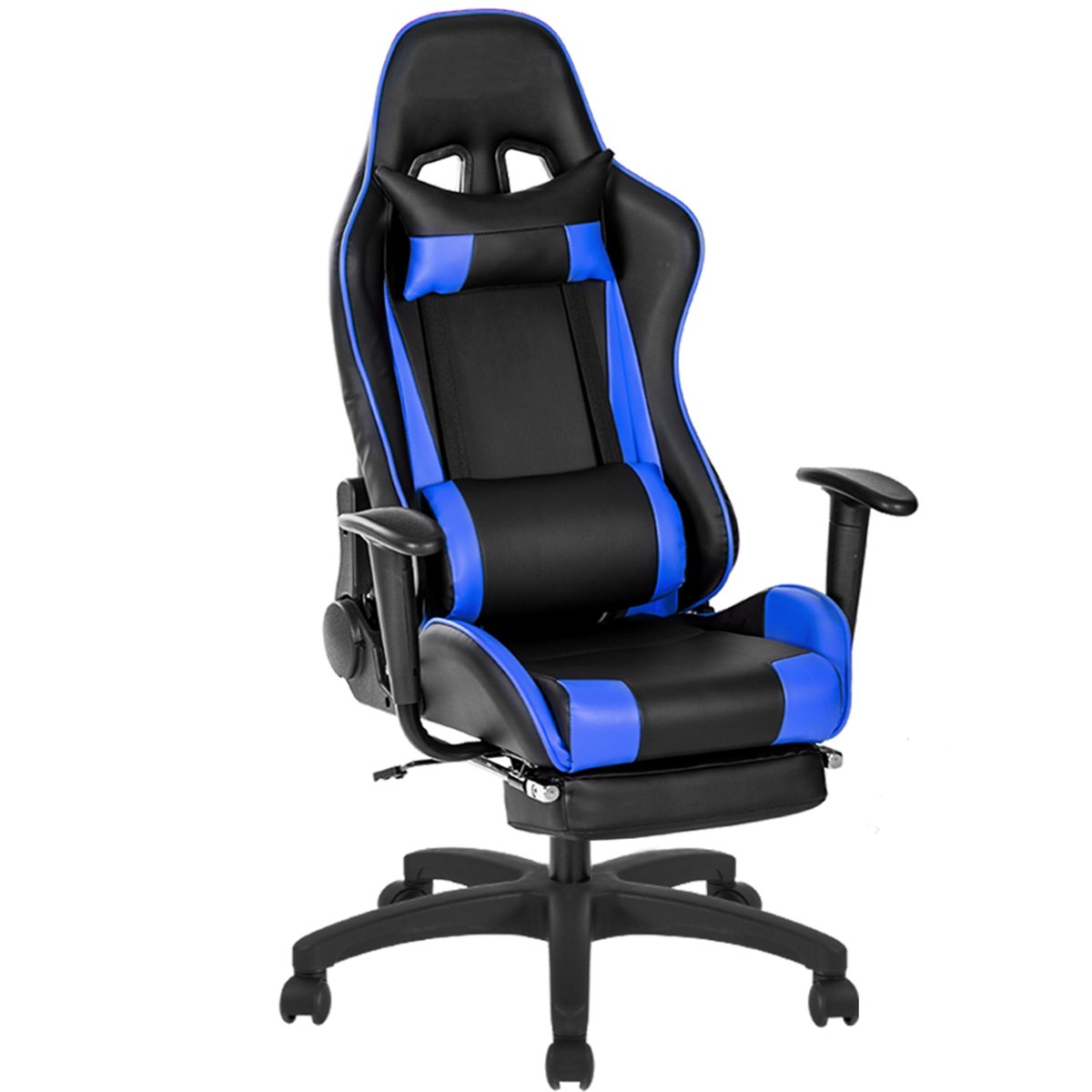 Game Chair 350lb Heavy Duty,JULYFOX Big and Tall Office Executive Chair Leather High Back Ergonomic 20 inch Extra Wide Lumbar Support Neck Pillow Upholstered Recliner Desk Chair Black and Blue C400-Black and Blue