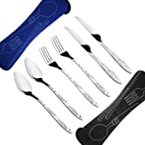 6 Pieces Flatware Sets , Stainless Steel Silverware Sets With Carrying Case For Travel Cutlery Set