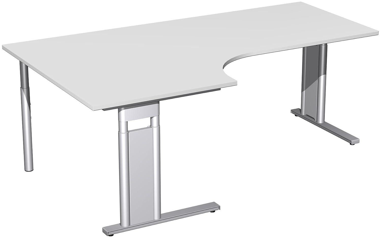 Geramöbel PC-Schreibtisch links höhenverstellbar, C Fuß Blende optional, 2000x1200x680-820, Lichtgrau/Silber