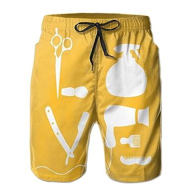 Beach Yoga Pants, Haircut Art Yellow Yoga Workout Shorts for ...