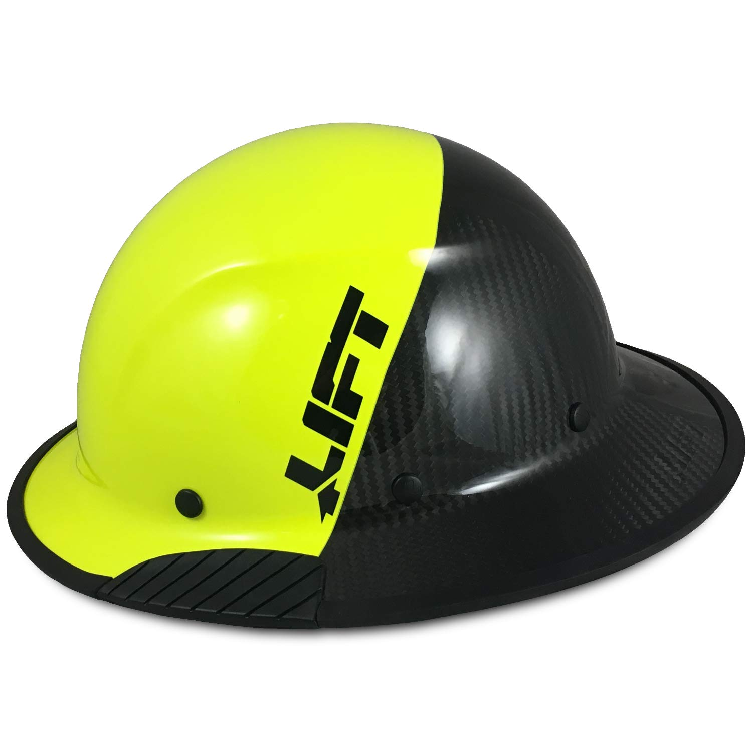 Texas America Safety Company Actual Carbon Fiber Material Hard Hat with Hard Hat Tote- Full Brim, Hi-Viz Lime and Black and Protective Edging