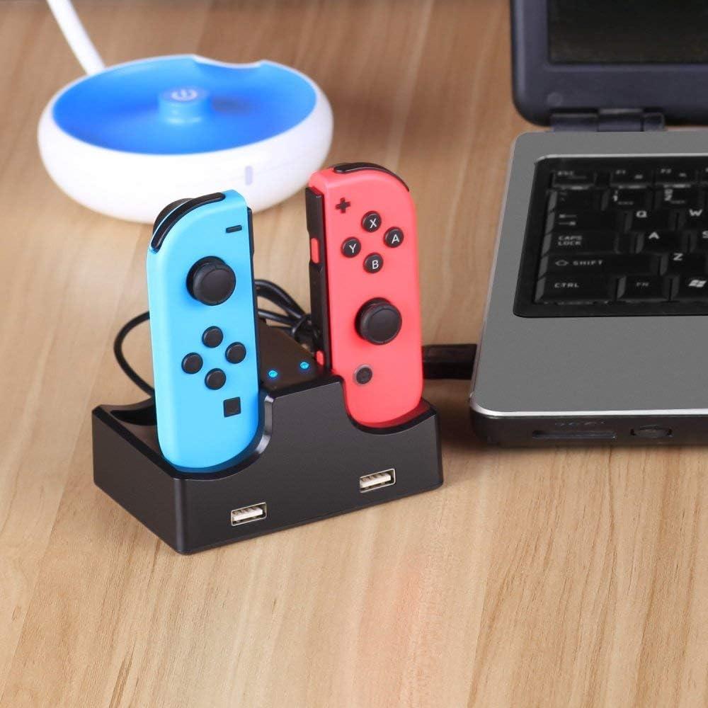 YUY 4-in-1-Ladestation F/ür Switch Joy-Con Mit 4 Ladeausg/ängen Und 2 USB 2.0-Ladeanschl/üssen Mit Separaten LED-Anzeigen