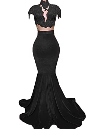 Ri Yun Womens Sexy Velvet Appliques Long Mermaid Prom Dresses Slim Fit Formal Evening Party Dresses