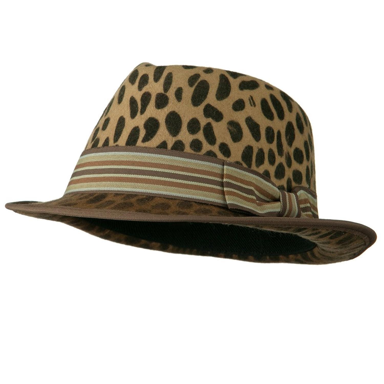 Woman's Animal Print Striped Ribbon Fedora Hat - Leopard W18S38F