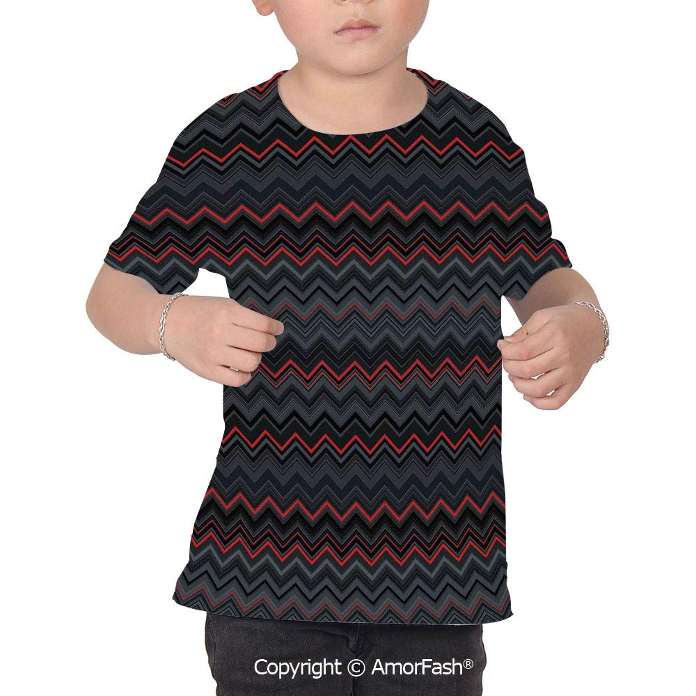 Red and Black Colorful Boys and Girls Soft Short Sleeve T-Shirt,Zigzag Chevron D