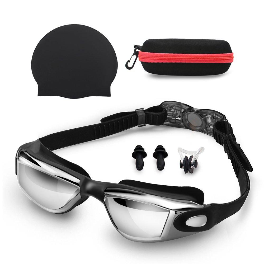 Gafas de Natación con Gorra de Natación + clip de nariz + tapones para los oídos + caso (No se escapa de la protección UV Anti niebla gafas de natación con ...