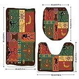 3 Piece Bathroom Mat Set,Primitive,Funky Tribal Pattern Depicting African Style Dance Moves Instruments Spiritual,Multicolor,Bath Mat,Bathroom Carpet Rug,Non-Slip