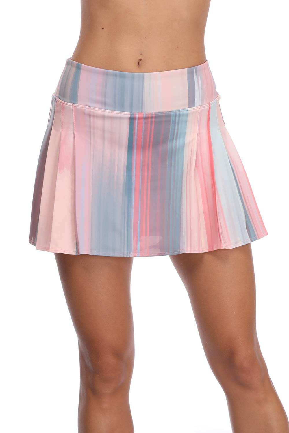 32e-SANERYI Women's Pleated Elastic Quick-Drying Tennis Skirt with Shorts Running Skort-14XL Pink by 32e-SANERYI