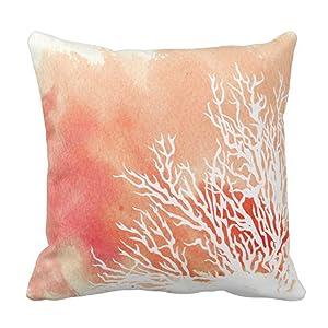 Emvency Throw Pillow Cover White Watercolor Splash Coral Reef Modern Beach Contemporary Decorative Pillow Case Home Decor Square 18 x 18 Inch Pillowcase