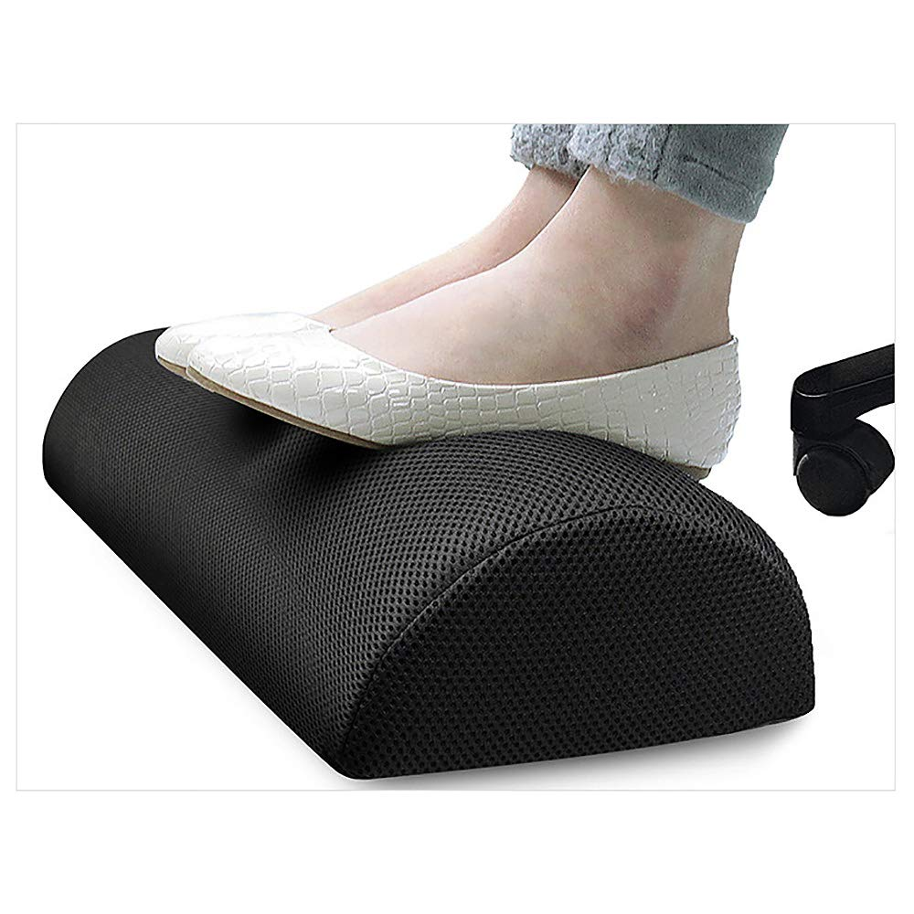 Konesky Foot Rest Cushion Under Desk Feet Stool Half Cylinder Memory Foam Foot Stand Portable Therapeutic Feet Pillow for Home Work Travel
