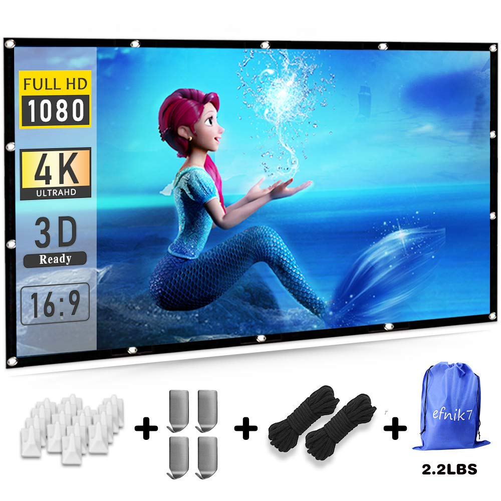 Projector Screen 120 inch 16:9 HD efnik 7 Brand Portable Projection Screen Foldable Anti-Crease for Home Cinema Theater and Outdoor Movie Screen Support Rear Projection (with Bag), Thicker Material