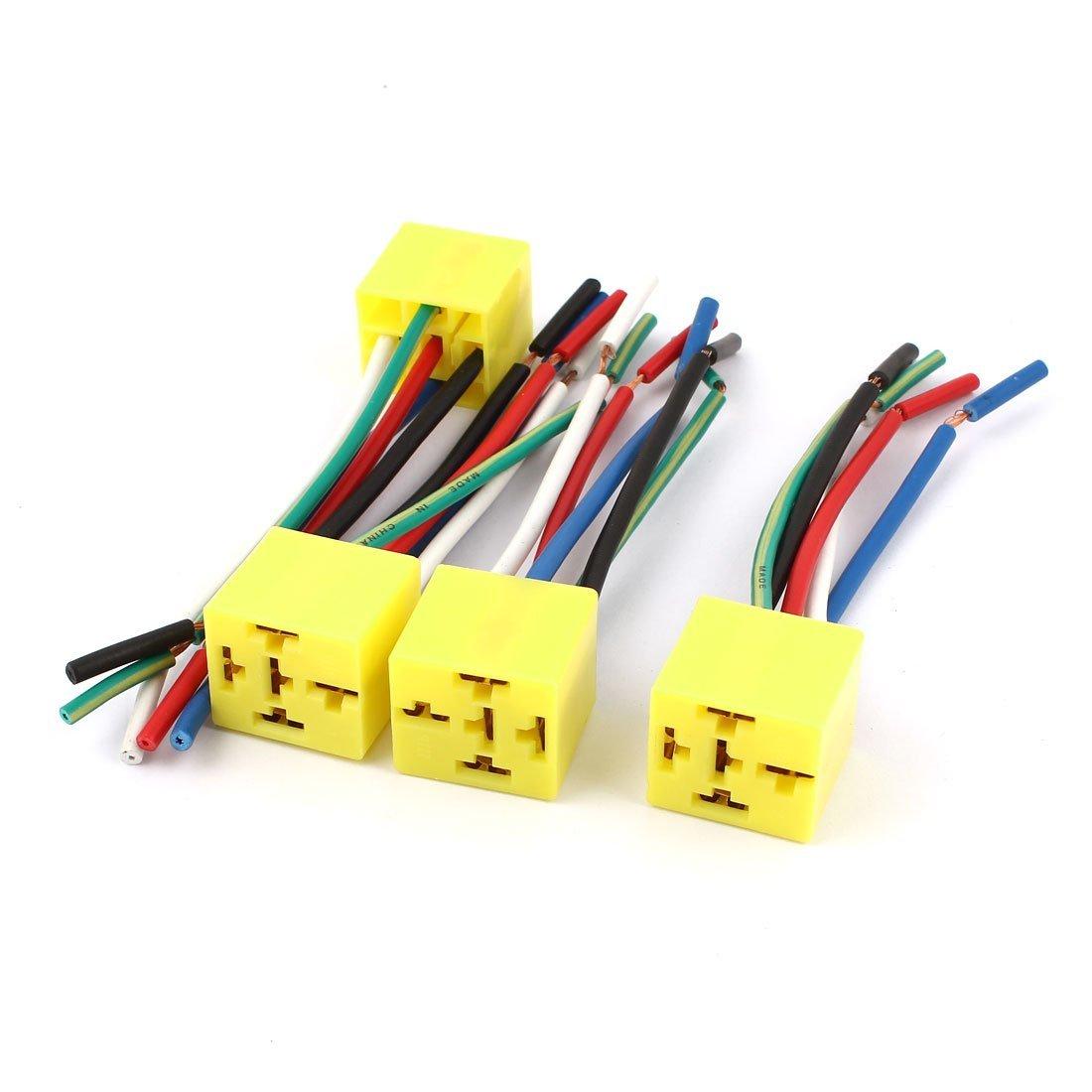 Alambres auto del coche de 12V DC Yellow 5 Pin Relay Socket 4 piezas ...