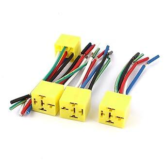 Alambres auto del coche de 12V DC Yellow 5 Pin Relay Socket 4 piezas de conector