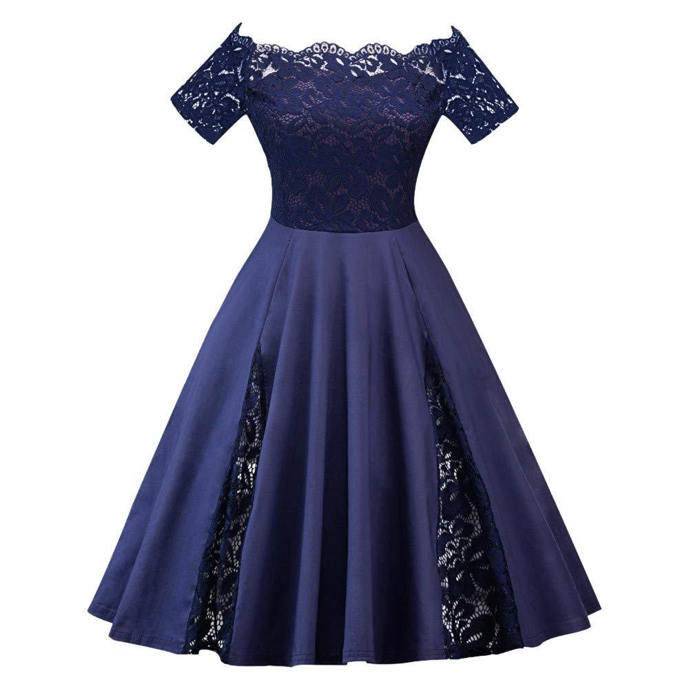 Sunday Damen Abendkleider 50s Vintage Kleid Elegant Hepburn Kleid Retro Rockabilly Kleid Faltenrock Ä rmellos Spitze Kleid Ballkleid Partykleid Oversize Swing Kleid (3XL, Blau)