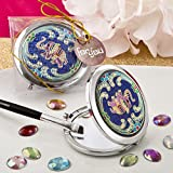 Compact Mirror Indian Elephant Blue Metal Compact Mirror in Gift Box