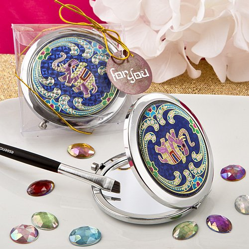 Indian Elephant Blue Metal Compact Mirror in Gift Box