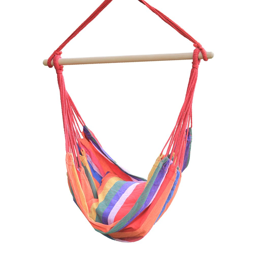 Hi Suyi Lounging Hanging Rope Hammock Swing Chair Seat for Indoor or Outdoor Garden Patio Yard Bedroom With Cushion and Wooden Bar