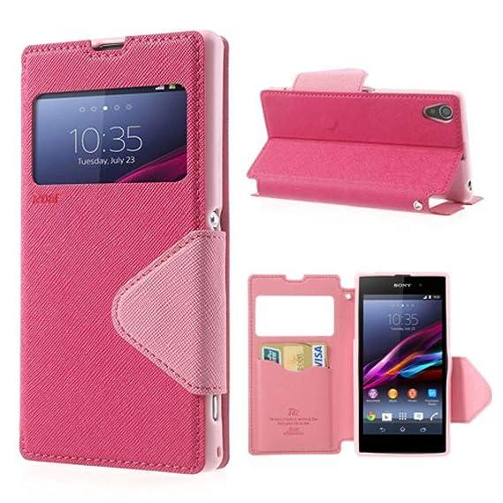 NessKa® Hülle Für Sony Xperia XA | Hülle in Pink/Rosa | Handyhülle mit Kartenfach Sicht-Fenster Ständer Magnetverschluss Schu
