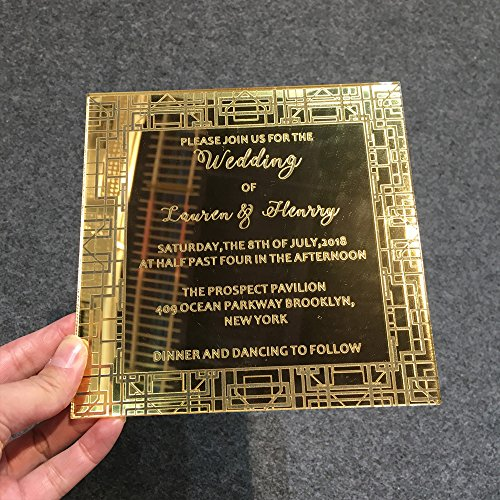 150x150mm Square Shape Golden Mirror Acrylic Wedding Invitation Card 50 Pieces Per Lot by HANTANG