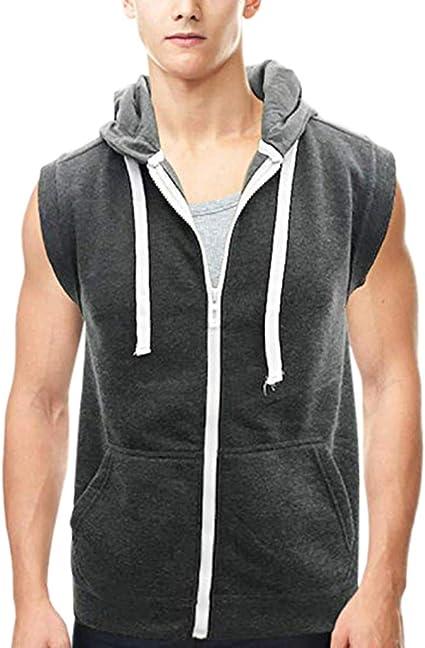Mens Summer Vest,Tronet Fashion Mens Patchwork Zip Pocket Sleeveless Vest Hooded Jacket