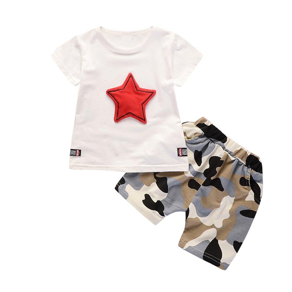 Daoope Completo Bimbo Estate Abbigliamento Bambino da Cerimonia 1 2 3 Anni Ragazzo A Manica Corta Star Pentagram Top Pantaloncini Camouflage Set Due Pezzi