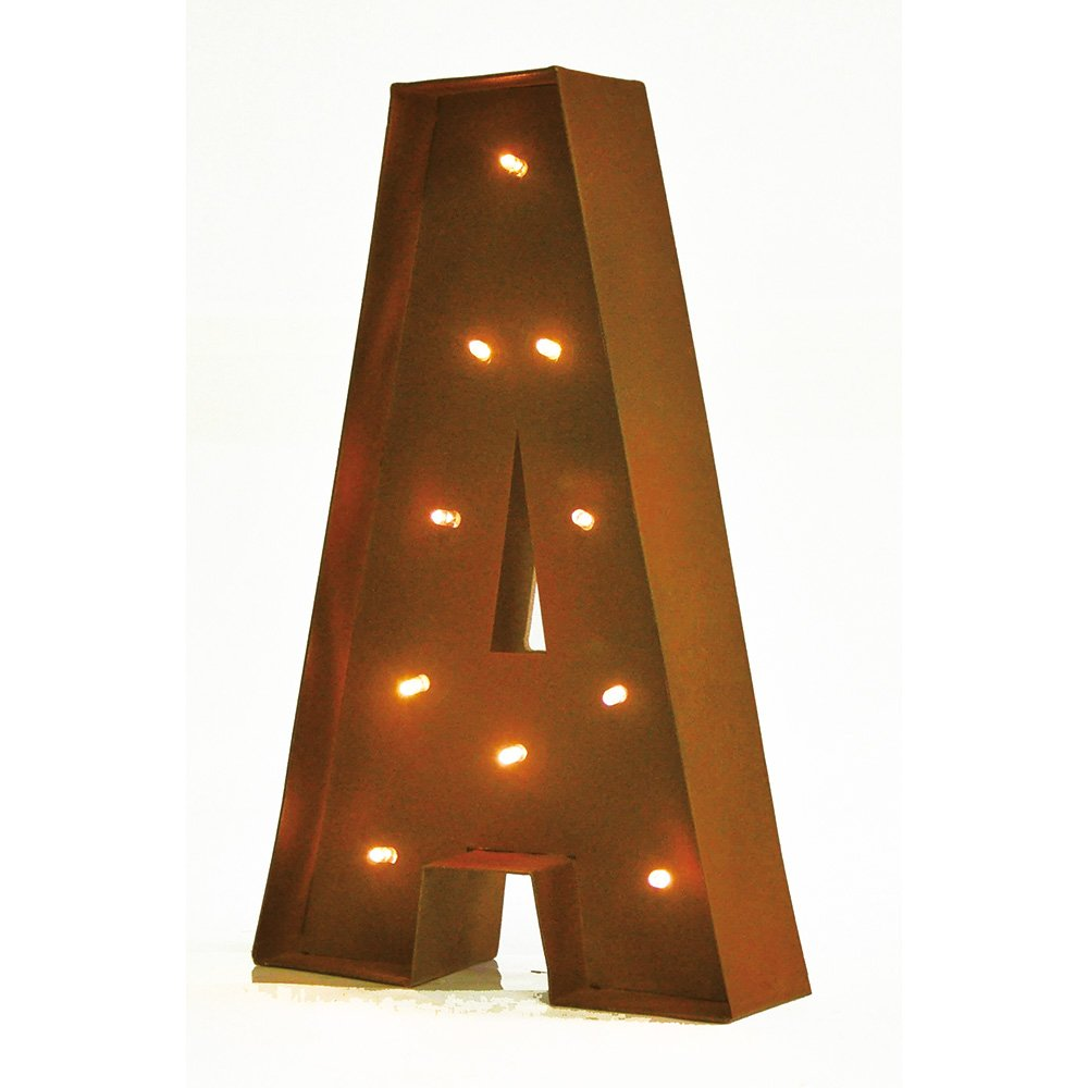 Rustic Vintage 11'' Decorative LED Light Glow Letters - Letter A by Modernhome
