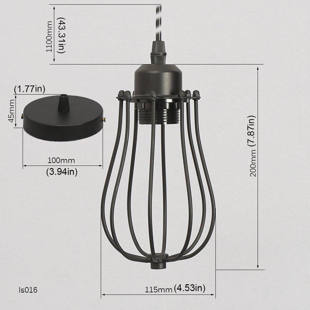 2 Pack Hanging Pendant Light Matte Black Metal Cage Lamp Shade Pendant Lamp Vintage Edison E27 Base Socket Ceiling Chandelier 110V Lamp Lighting