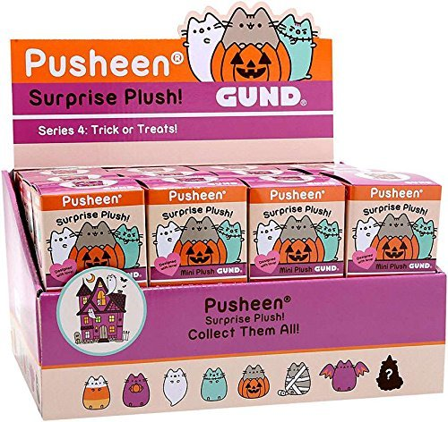 Pusheen Gund Cat Halloween Series 4 Trick or Treats Case of 24 Mini Surprise Plush -