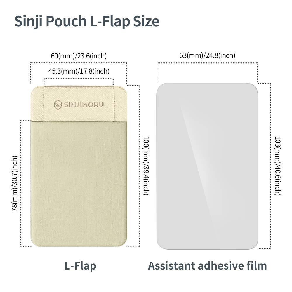 Sinji Pouch L-Flap Reusable iPhone Stick on Wallet Credit Card Holder for Smartphone Black Sinjimoru Business Card Holder for Back of Phone