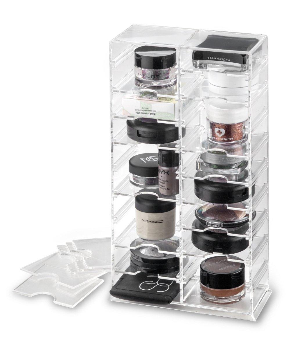 byAlegory Organizador de acrílico del soporte del maquillaje con los divisores desprendibles | 20 Spaces Designed To Stand & Lay Flat PC-12-T