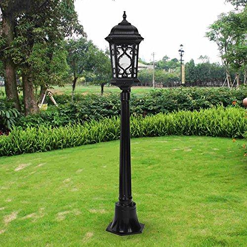 Victorian Lamp Post - Modeen Traditional Victorian Style 2.1M Black 1-Lights Way Ip55 Waterproof Outdoor Garden Lamp Post Light Glass Column Lamp LED Light E27 Decoration Street Light Lawn Villa Lamp (Size : 85cm)