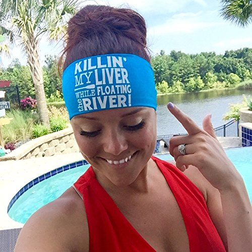 Killin My Liver While Floating The River. Black headband with white design. Headbands By Hippie Runner. The #1 Choice For Athletes! No Slip, No Drip Headbands For Running, Exercise Or (River Design)